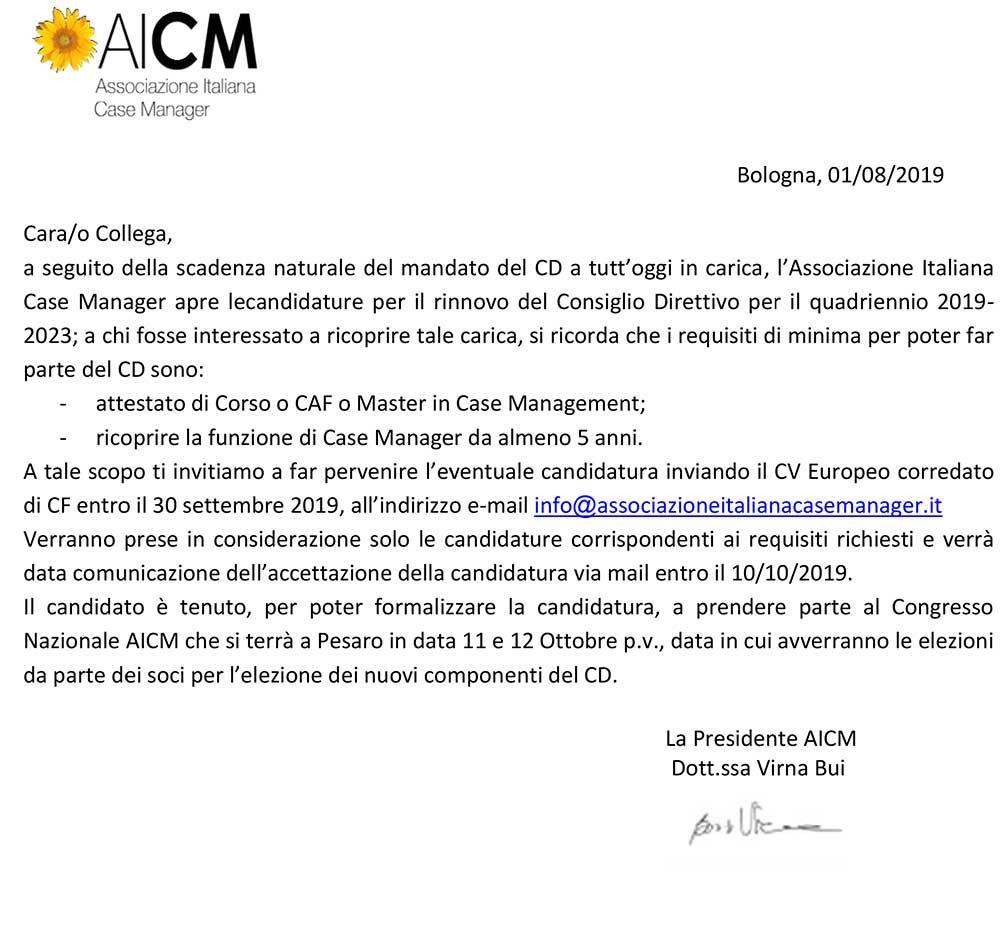 Candidatura componente Consiglio Direttivo AICM