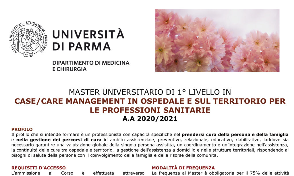 Università di Parma: master Case/care management in ospedale e sul territorio per le professioni sanitarie